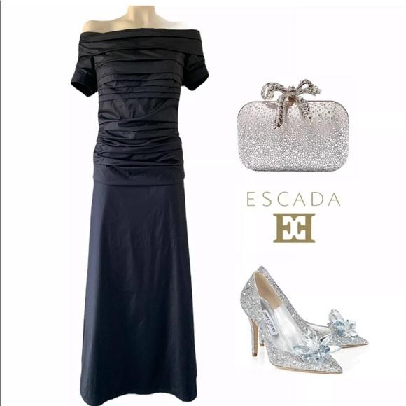 Escada Dresses & Skirts - ESCADA RUCHED DARK NAVY GOWN SZ 40 - 10 $5995.00